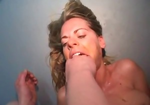 Woman tastes some juicy shit