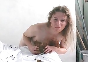Playful woman in tasty shit