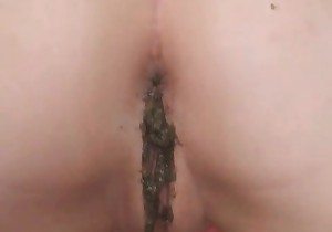 Shaved pussy in fresh turd